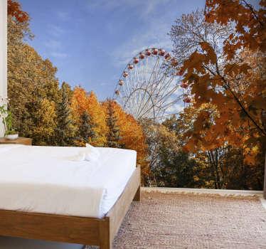 Geniet het hele jaar door van de schoonheid van het herfstseizoen. Dit bos muurschildering is een perfecte decoratie voor uw huis. Gratis bezorging!