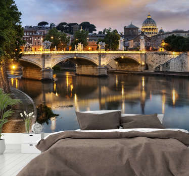 Make your mornings beautiful and wake up with the beautiful view of Rome with this landscape wall mural. Choose the perfect size for your walls!