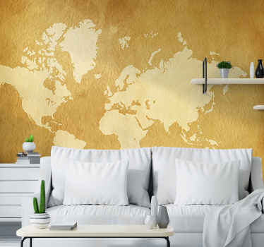 Have a look at this vintage wall witha a high quality image of the world map. Perfect as your bedroom or living room decoration. Free delivery!