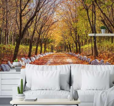 Compre este fotomural bosque otoñal lleno de colores sutiles y cálidos y árboles ¡Consigue tu chocolate caliente y disfruta de la vista! Envío gratuito
