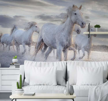 Beautiful animal wall mural full of horses running through the choppy water enjoying the wind surrounding their body. Free delivery!