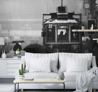 Este fotomural de cidades em preto e branco de um elétrico para a Rua do Carmo em Lisboa  ficará perfeito na sua casa.