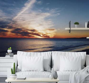 Este fotomural de paisagens de praia com um pôr do sol de tirar o fôlego será perfeito para si! Medidas personalizáveis.