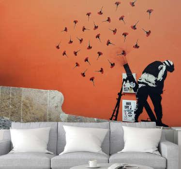 Fotomural decorativo de arte urbana baseado na obra de Banksy e apresenta a luta com cravos. Entrega grátis.