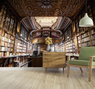 Este mural de parede de lugares descreve a Livraria Lello, uma das livrarias mais bonitas do mundo. Ideal para salas e quartos.