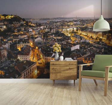 As luzes de Lisboa vão hipnotizar-te! Mostra o teu amor por esta cidade com este fotomural de cidades com uma imagem de  Lisboa à noite.