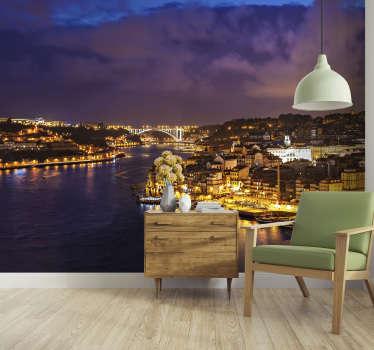 Um fotomural de cidades do Porto durante a noite. Apaixone-se pelo horizonte deste belo lugar. Imagem de alta qualidade e muito realista!