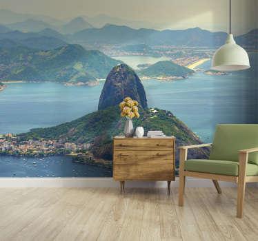 Magnífico fotomural de parede de cidades do Pão de Açúcar no Brasil é a decoração perfeita para as paredes da sua casa.