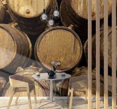 Gosta de um copo de vinho? Que tal um barril inteiro? Este fotomural decorativo para cozinha é perfeito para qualquer amante de vinhos.