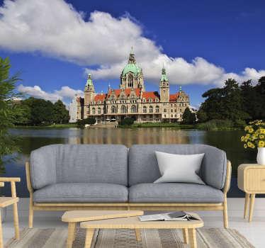 Exquisite und antike Architektur finden Sie in dieser Tapete, die das neue Rathaus in Hannover, darstellt.