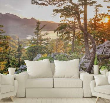 Diese Landschaftsfototapete zeigt die fantastischen Alpen während eines Sonnenuntergangs, besonders die warme Farbpalette wird in Ihrem Zuhause großartig aussehen.