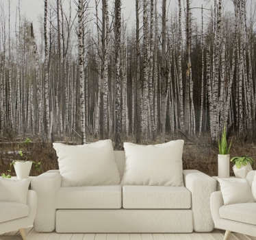 A rather mysterious vibe surrounds this grey birch forest wall mural. Buy it now to experience a mystical atmosphere at home.