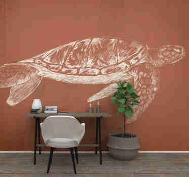 High quality office wall mural with the white sketch of a turtle on the brownish background. A design that will make everyone amazed!