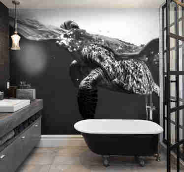 Amazing black and white wall mural with a turtle that will be perfect as your new bathroom wall mural. Choose the size you need and order it now!