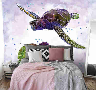 Fantastic and large wall mural with cute turtles swimming through the vast water that looks like it is painted on your wall. Free delivery!