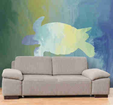 Fantastic green wall mural with the subtle shape of turtle in beautiful colours ranging fromm green to blue. Buy it now with free delivery!