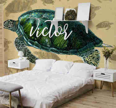 Vintage bedroom wall mural full of turtles which soft colours create a beautiful decoration that will make your interiors look cozy. Free delivery!
