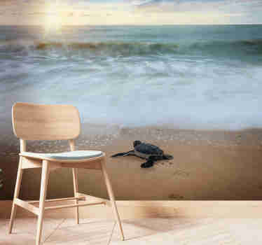 High quality sea wall mural with the turtle in front of the water standing happily on the shore. Best image with the matte finishing!