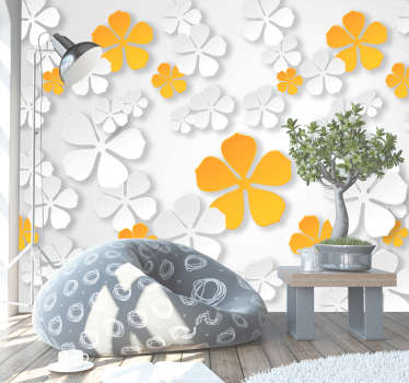 Yellow and white flowers to decorate with! This flower wall mural is the perfect addition to any home! It will help you add some colour to your walls
