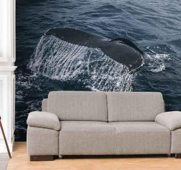 Crea buena aura en tu salón con nuestro gran fotomural naturaleza con con una cola de ballena gigante salpicando ¡Envío gratuito!