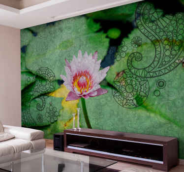 Green patterned wall mural with an ornamental paisley design with pink petals. It is made of good quality and easy to apply.