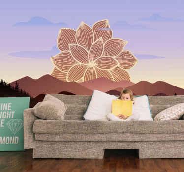 Une photo murale moderne pour un salon. Cette décoration murale est créée avec une grande fleur graphique derrière les montagnes. Application et retrait faciles !