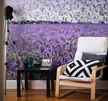 Photo murale feuilles ornementales à motifs paisley pour embellir un salon ou une chambre. Il est facile à appliquer et à entretenir. Disponible en différentes tailles.