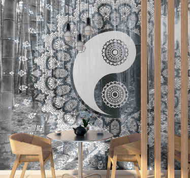 Decorative photo wallpaper with a paisley and ying yang pattern design. It is made from high quality material and easy to apply.
