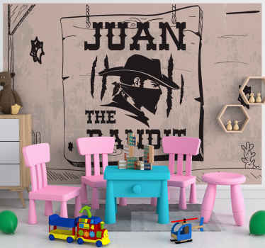 Children wall mural featured with the design of a cowboy bandit with a masked face. It is customisable in any name of choice.