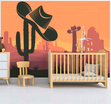 Desert scene wall mural with the design of sunset with cowboy hats suspended on cactus plants in the desert. It is of good quality and east to apply.
