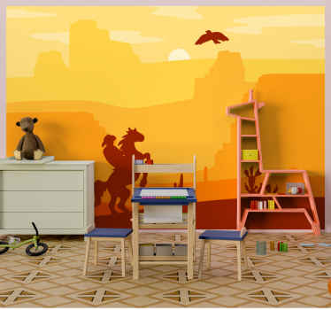 Landscape wall mural featured with the design of sun set with with a cowboy riding on a horse. The product is easy to apply on flat surface.