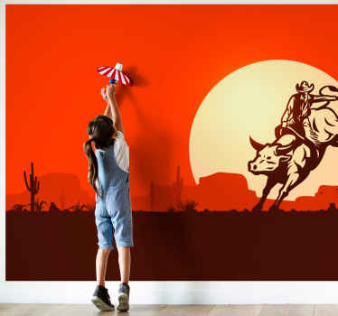 Buy our original vintage wall mural with the background of sunset with a cowboy riding a bull. It is made with high quality material.