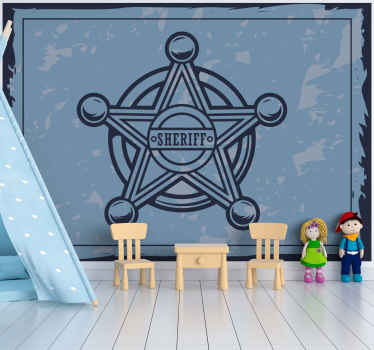 Vintage wall mural with the design of a star badge with customisable name. It is made with high quality material and very easy to apply.