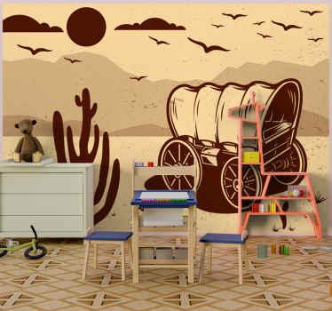 Hermoso fotomural infantil de estilo vintage con un paisaje del oeste con carros, el desierto y elementos típicos ¡Envío a domicilio!