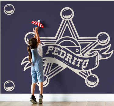 Buy our children wall mural to beautify with the design of a sheriff badge. It is customisable with any name of choice. Easy to apply.