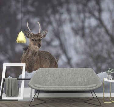 Realistic reindeer animal wall mural to decorate your space with  forest animal landscape experience. The product is easy to apply and of good quality.