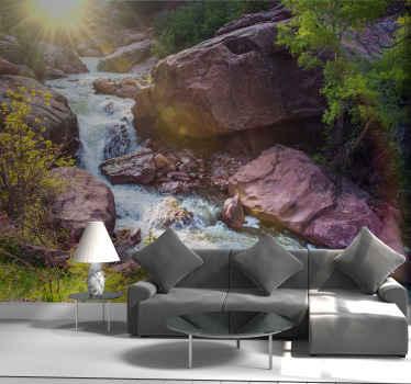 Si te gusta recorrer el hermoso paisaje natural nuestro diseño de fotomural paisaje con cascada es para ti ¡Envío gratuito!