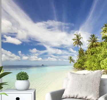 Crie essa natureza e a vista de tirar o fôlego em sua casa no incrível fotomural vinílico de parede cenário tropical do mar da ilha. é fácil de aplicar e de alta qualidade.