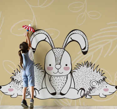 Children bedroom wall mural design created with porcupine and rabbit. It is easy to apply and made with high quality material.