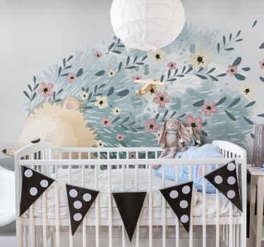 Un fotomural animales de erizo y flores en estilo nórdico para decorar. Es fácil de aplicar, duradero y original ¡Envío gratuito!