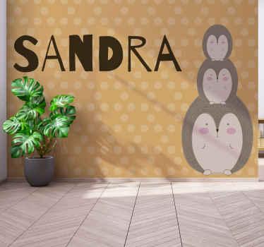 Diseño fotomural de erizo con nombre personalizable para decorar en el dormitorio de los niños. Fácil de colocar ¡Envío gratuito!
