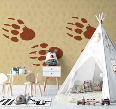 Un fotomural animales con diseño decorativo de huellas de erizos con fondo marrón estampado borrosa ¡Envío gratuito!