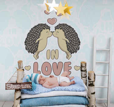 Large love wall mural design with the deign of two porcupines kissing, It is hosted with the text ''In love''. Easy to apply wall mural product.