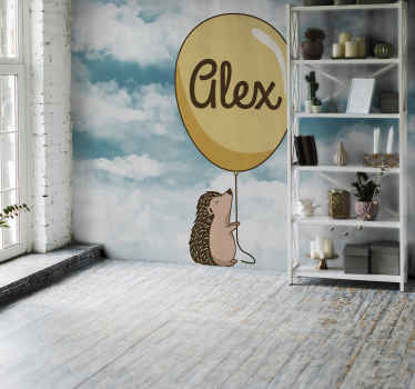 Large wall mural design of a large cloud with a porcupine holding a customized name air balloon. It is easy to apply and of high quality material.