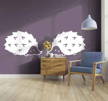 Fotomural de animales impreso con la imagen de dibujo de puercoespines sobre un fondo púrpura. Elige medidas ¡Envío gratuito!