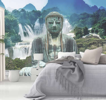 Venture to the cascades of calm with this Buddha wall mural. Stunning waterfalls, surrounded by a forest, and in front a large Buddha statue