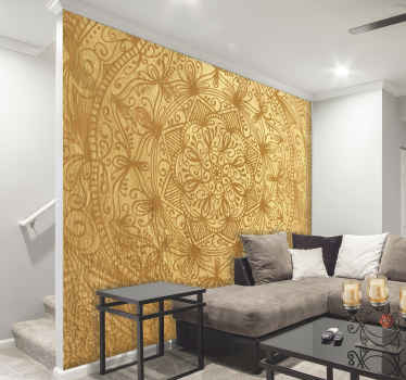 These are the golden days, well that's what you'll be saying when sitting on your sofa in front of your gold mandala wall mural