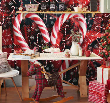 Decorative red Christmas photo wallpaper design featured with large and small Christmas candies, snowflakes and red theme background.