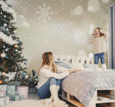 Shiny Christmas snowflakes wallpaper with an amazing appearance to thrill kids for Christmas. It is easy to apply and of great quality.