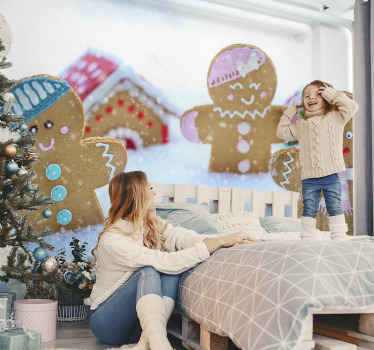 Decorative Christmas cookies children wallpaper design you would love for your kid's bedroom space as Christmas decoration.